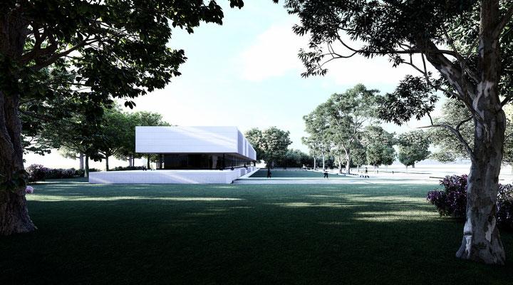 Stirnseite Süd und die Einbettung in den Park der Hochschule
