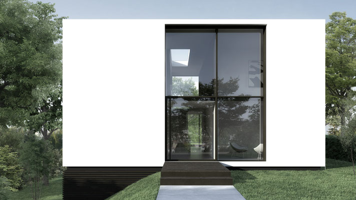 Der Zugang zur klar strukturierten Ansicht, jede Ansicht hat eine weiße Fläche und eine große Öffnung