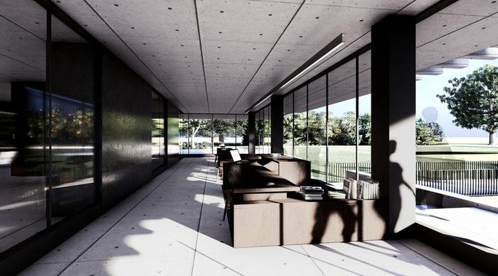 Eingang und Studentische Verwaltung im Glasgeschoss der Lehrenden