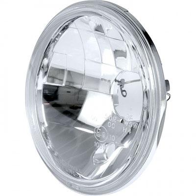 """Klarglas-Hauptscheinwerfereinsatz 146mm Durchmesser (5 3/4"""") für H4-Lampe u. Standlicht. 12 Volt (60/55 W). Glas im Lampenring 134,7mm, Gehäuse innen zum Einbau 127,6mm, mit E-Zulassung, Tiefe Rand 11mm, Einbautiefe ab Rand 45mm"""