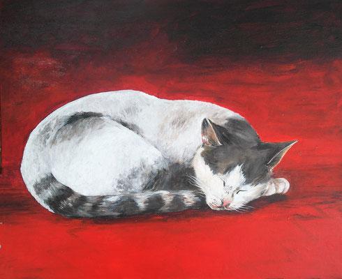 Chat rouge - 38x46 cm  -  200€