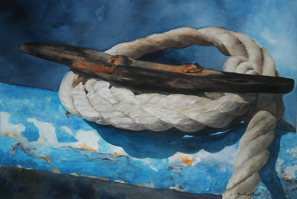 Boute de bateau bleu - 38x55 cm  -  200€