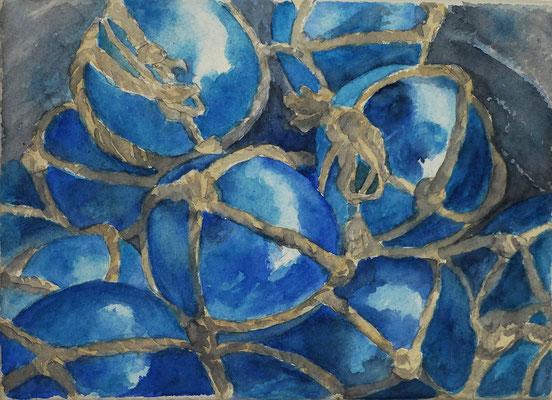 Boules bleues - 13x 18 cm  -  25€