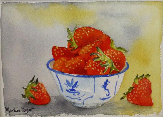 Bol de fraises - 13x 18 cm  -  25€
