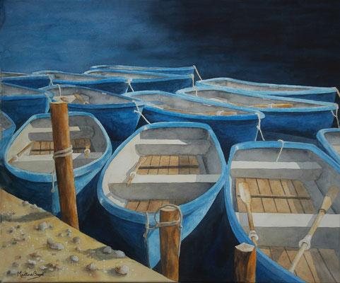 Barques bleues - 66x80 cm  -  400€