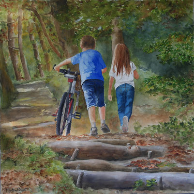 Enfants au vélo - 90x90 cm  -  700€