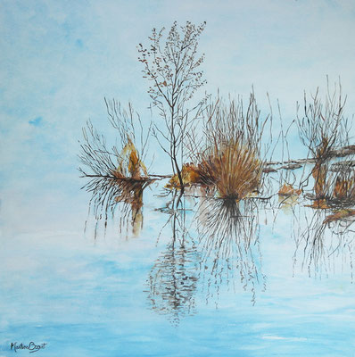 Branches des marais (acrylique) - 90x90 cm  -  500€