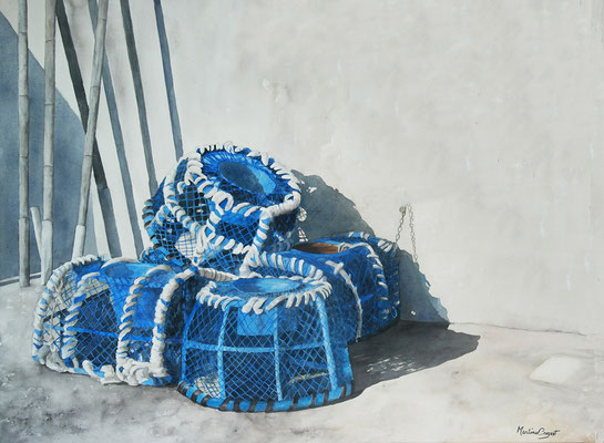 Casiers de pêche (aquarelle et acrylique) - 60x81 cm  -  450€