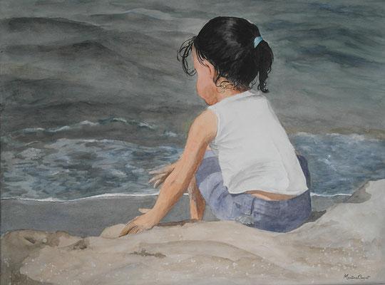 Petite fille à la mer - 60x80 cm  -  300€