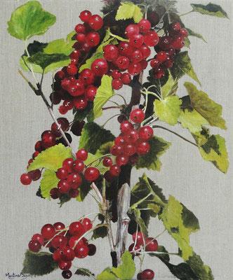 Groseilles (Acrylique) - 46x55 cm  -  230€