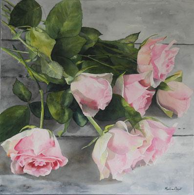 Bouquet de roses - 90x90 cm  -  600€