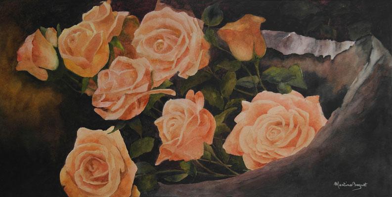 Roses oranges - 40x80 cm  -  250€