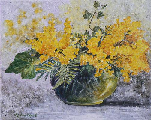 Mimosas (Acrylique) - 40x50 cm  -  250€