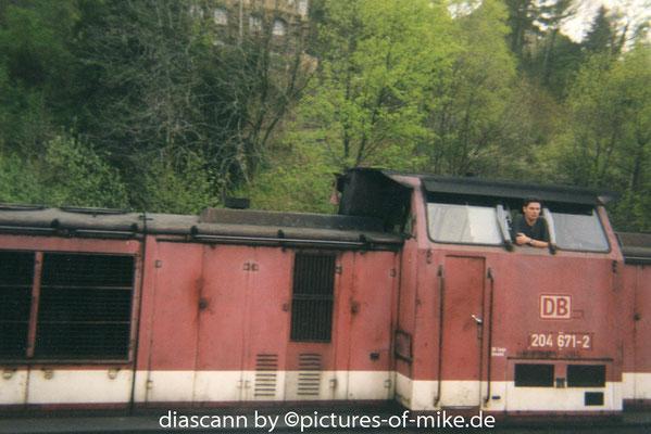 1998 auf dem Kreuzungsbahnhof Glashütte mit meinem talwärts fahrenden Zug. Foto: Lutz Lehner