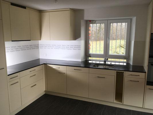 Küchenrückwand mit Schriftzug - beige - matt