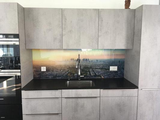 """Küchenrückwand Fotodruck """"Paris"""" - glänzend"""
