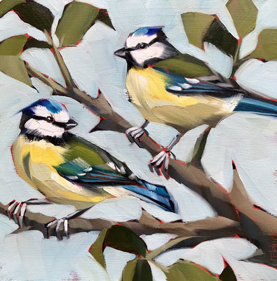 BO11 Two Bluetits original sold      print available £65