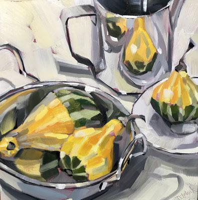"SLO50 Gourd Reflections   Original 8""square +11""frame £175"