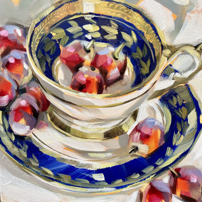 """SLO73       Red Grapes & Blue Gold cup    Original  6"""" in 9"""" frame £150"""