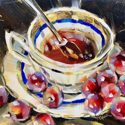 "SLO70     Red Grapes & Tea    Original  6""in 9""frame £150"