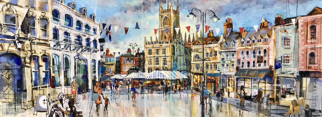 C27 Cirencester Panoramic market Large sold - Print Available (contact me for details)