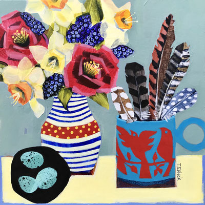 SLM39 Angelas Flowers    original sold        print £65