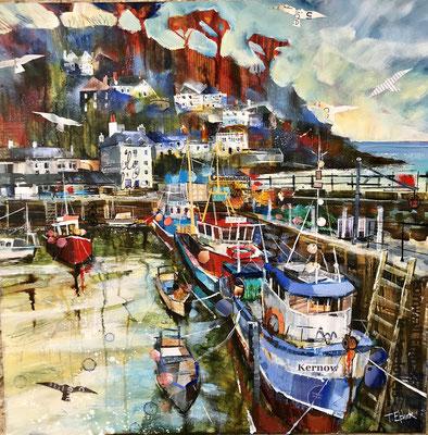 "Fishing Boats, Polperro 21""x21""+frame £550 print available"