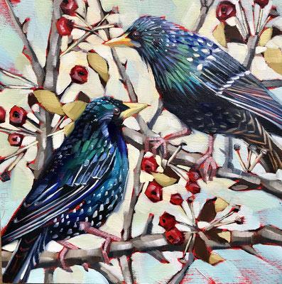 BO08 Starlings & Berries   original sold      print available  £65