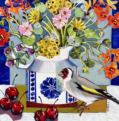 """SLB49 Late Summer Flowers & Goldfinch 12""""square + frame £275 print available"""
