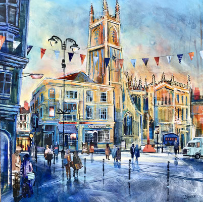 "C28 Cirencester Church, Winter Light 21""square +frame £550 print available"