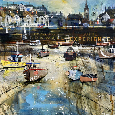 """CO33   Porthleven, High Tide     Original 12""""in 15"""" frame £300       print available   £65"""