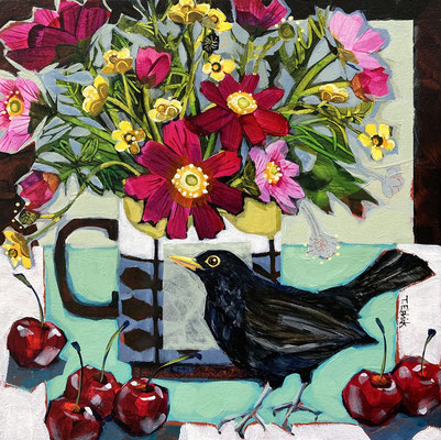 SLB44 Blackbird Cosmos & Cherries  original sold    Print £65