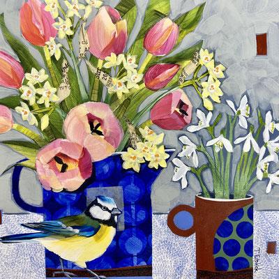 SLB57    Bluetit, Pink Tulips & Snowdrops    Original SOLD     Print £65