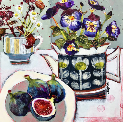 SLM14 Figs & Pansies   original sold     print £65