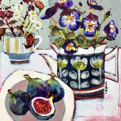 SLM14 Figs & Pansies   original sold     print £65