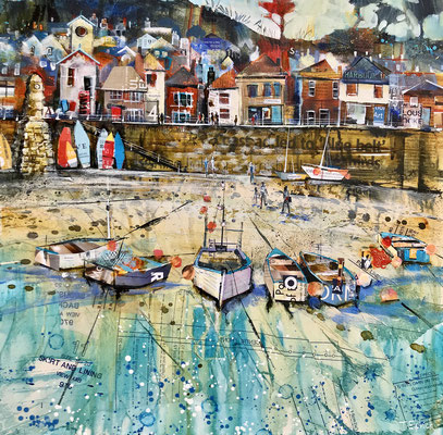 """Punts on Mousehole 21""""x21""""+frame £550 print available"""