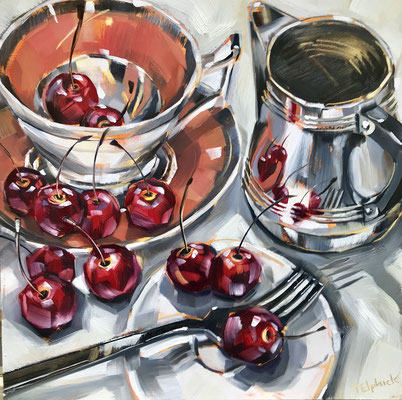 SLO43 Cherry Tea Cup  sold print available   £65