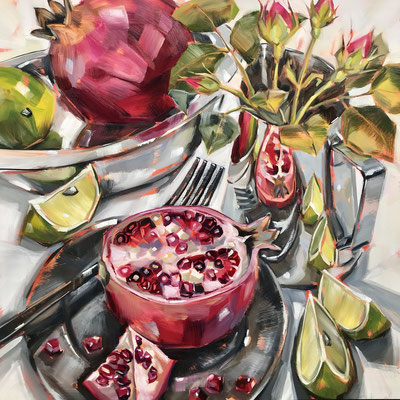 SLO45 Pomegranates & Limes  1 metre square inc. frame £1000 print available