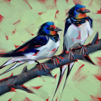 "BO58       Swallows on Green      Original   8""in 11""  frame    £195"