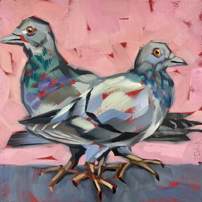 "BO52 Pigeons    original   8"" in 11"" frame    £175"