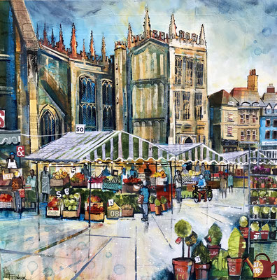 "Cirencester Church & market with Plants 21""x21"" £550 print available"