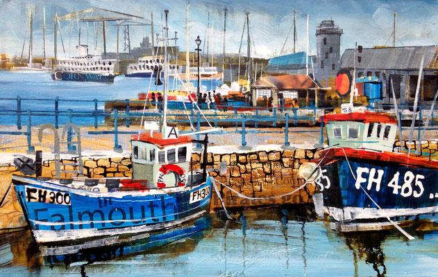 """Falmouth, Custom House Quay 10""""x16"""" +frame £275 Print Available"""