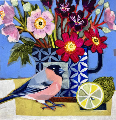 SLB46 Bullfinch, Cosmos & Limes sold print available