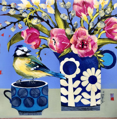SL29 Bluetit & Pink Tulips  original sold     print £65