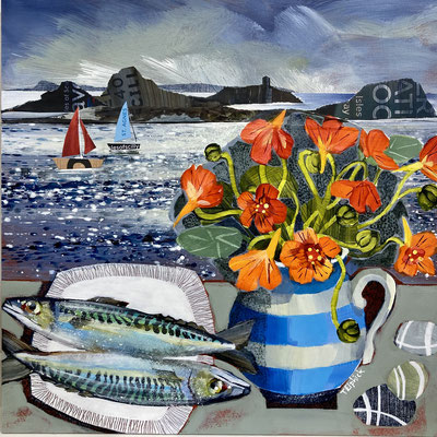 SLM43 Nasturtiums & Mackerel on St. Agnes  Original sold        print £65