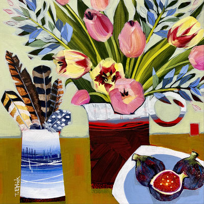 """SLM45   Tulips, Feathers & Figs    Original  12"""" in 15"""" frame    £325"""