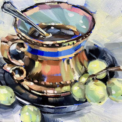 "SLO69   Green Grapes & Copper Cup     Original  6""in 9""frame   £150"