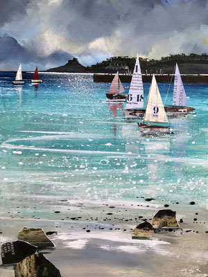"Tresco Sail Boats 12""x16""+frame £275 print available"