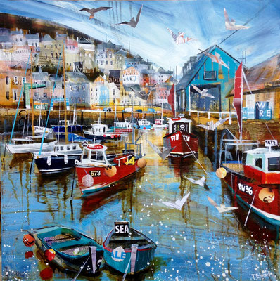 CO11 Mevagissey Harbour 4     original  SOLD      Print Available   £65