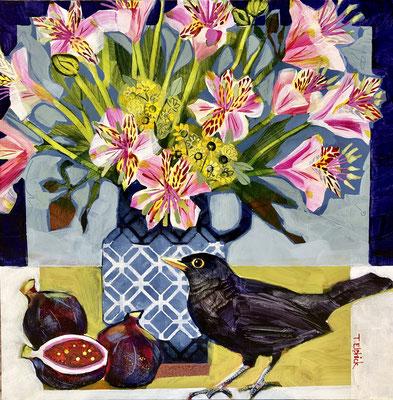 "SLB47 Blackbird, Figs & Alstromeria 12""square +frame £275 print available"